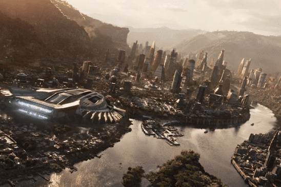 An aircraft flying over Wakanda from the film Black Panther.