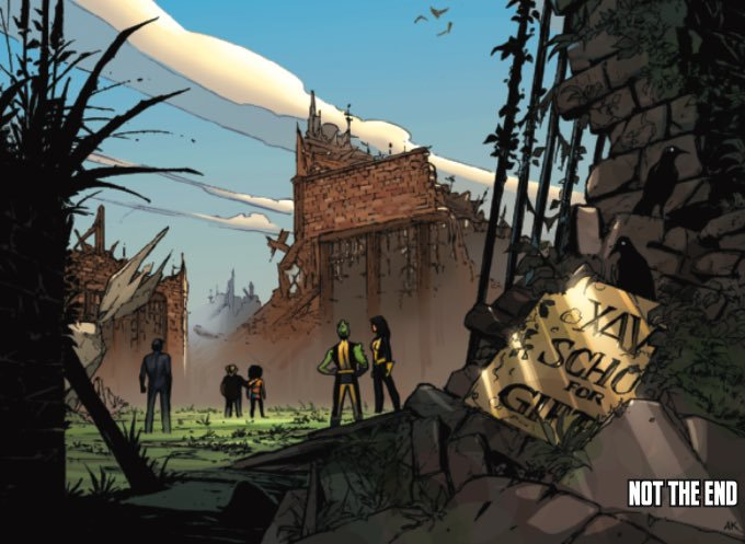 The ruined X-Mansion from an X-Men Comic