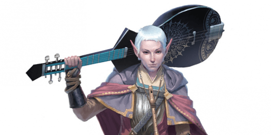 An Elf woman with a guitar over her shoulder.