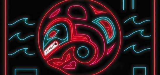 A stylized orca from the cover of Blackfish City.