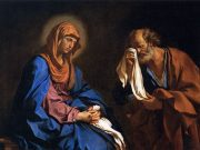 A classical painting of Saint Peter weeping in front of the Virgin Mary.
