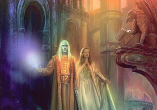 A Lady and Lord wielding magic on the cover of Elantris