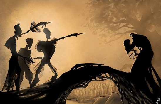 Shadow art of the three brothers meeting death.