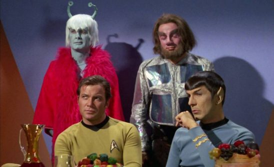 Kirk, Spock, and two Aliens