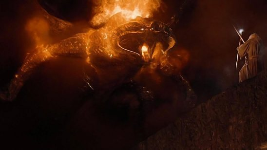 Gandalf facing down the Balrog from Lord of the Rings.