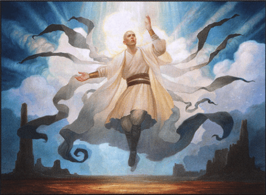 A monk surrounded in a nimbus of holy light.