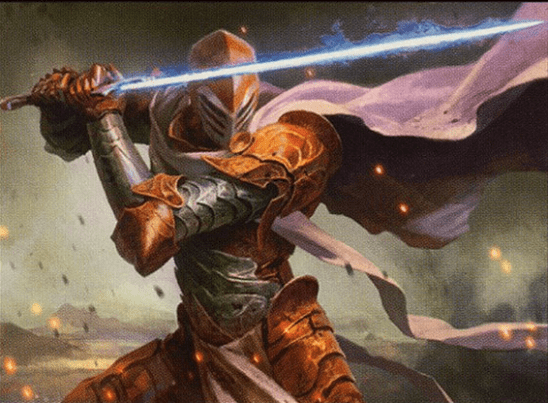 A paladin in armor with a glowing sword.