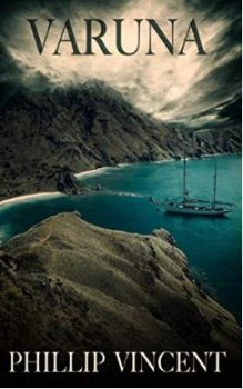 The cover of Varuna by Phillip Vincent, featuring a ship floating in a mountainous bay