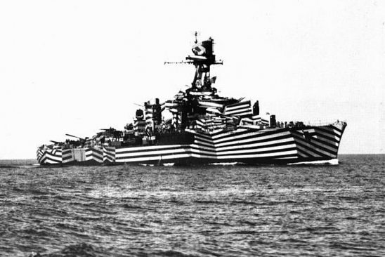 A ship using WWI dazzle camouflage.