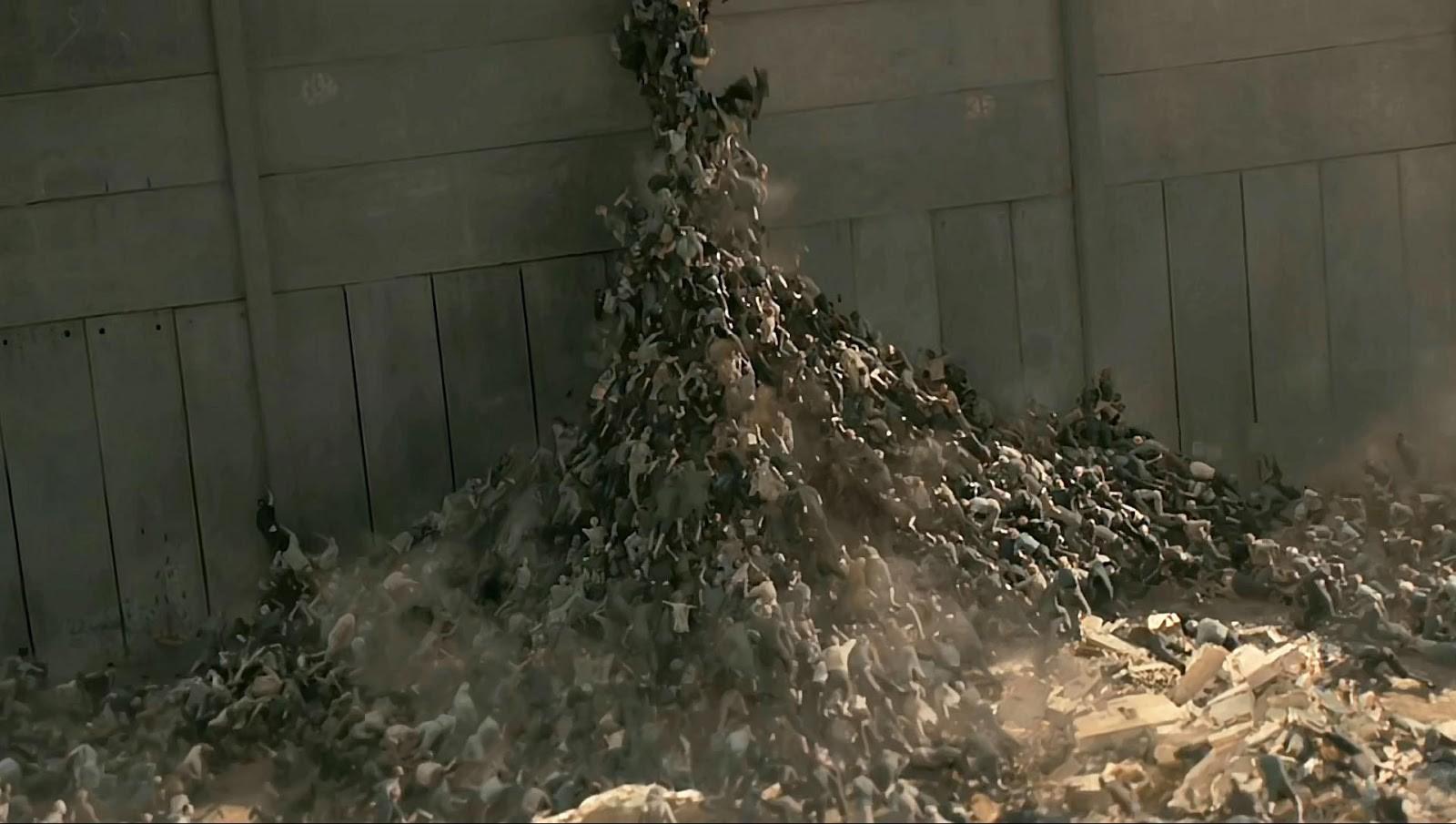 Zombies climbing a wall in WWZ