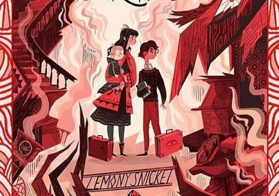 Three kids with luggage in a burning building on the cover of A Series of Unfortunate Events
