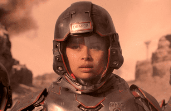 A Martian Marine in powered armor looking less than pleased.