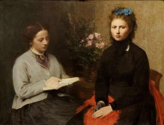 An oil painting of a woman reading from a book to another woman.