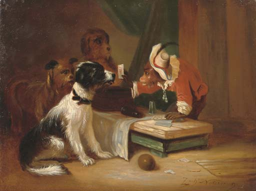 A painting of a monkey showing cards to dogs.