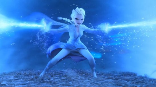 Elsa shooting beams of ice into a tornado around her.