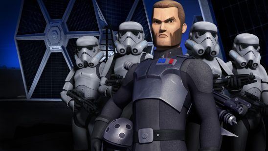 Agent Kallus and a group of Stormtroopers.