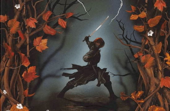 Cover art of Kvothe with his swordiest sword.