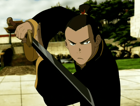 Sokka wielding his space sword.