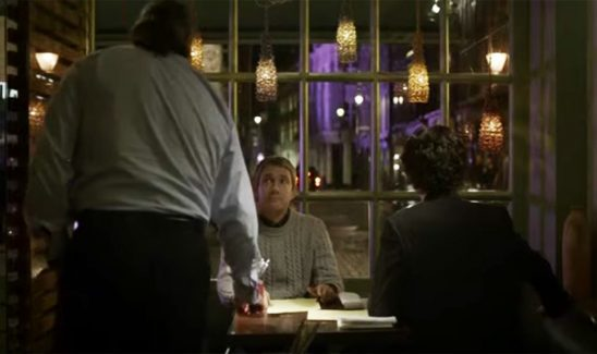 At a restaurant, the waiter assumes Watson is Sherlock's date