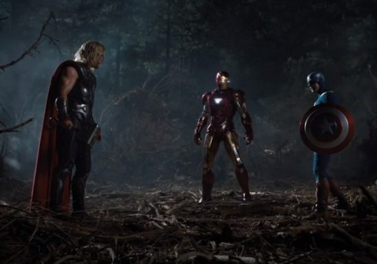 Thor, Iron Man, and Captain America standing in the woods.