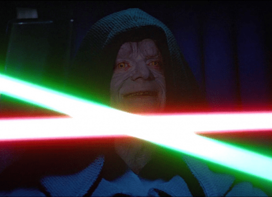 Luke and Vader's lightsabers clashing over Palpatine