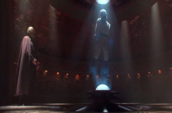 Dooku talking to a restrained Obi-Wan