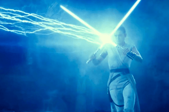 Rey deflecting Palpatine's lightning with two lightsabers.