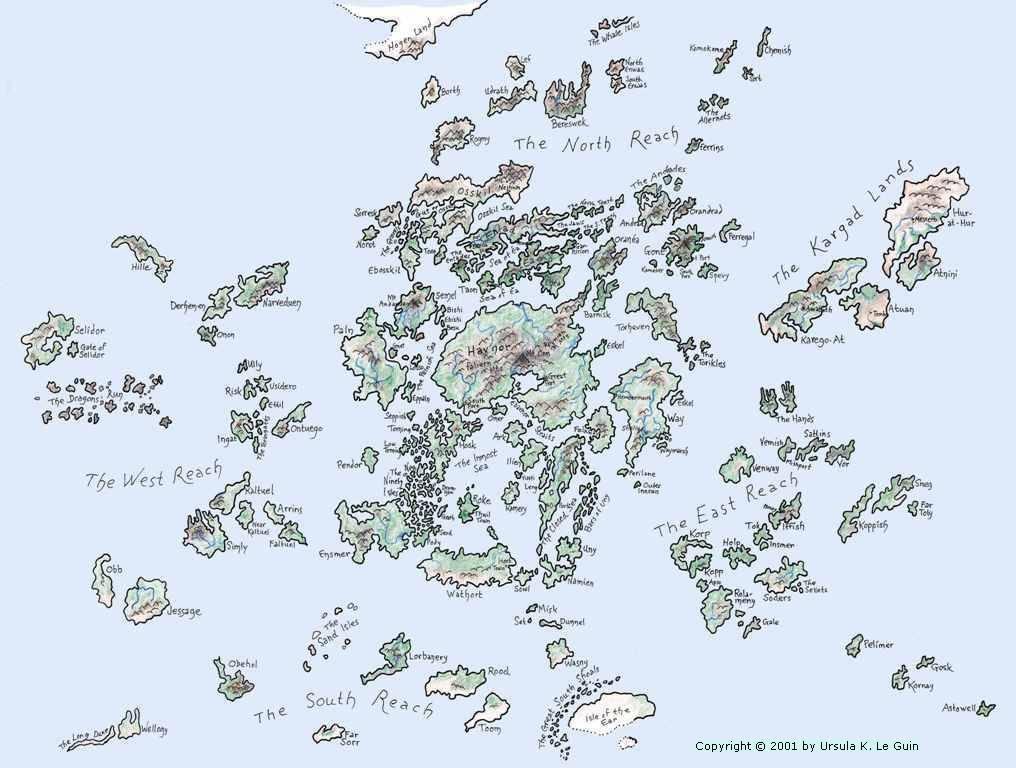 A map of the Earthsea archipelago.