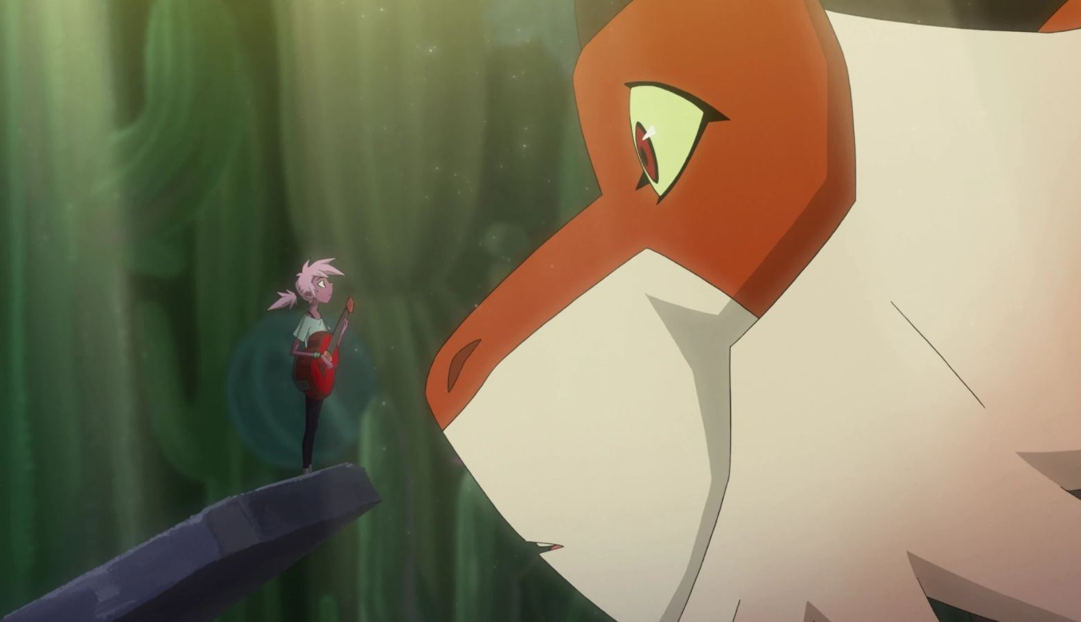 In Kip and the Age of Wonderbeasts, a young woman stands with her guitar in front of the nose of a giant monkey