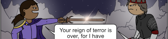 a hero points a sword at a dark queen