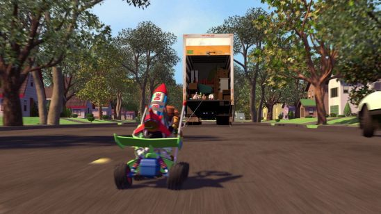 In Toy Story, toys on a remote control car chase after a moving truck