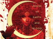 A woman stares through a crescent moon on a cover printed with House of Earth and Blood