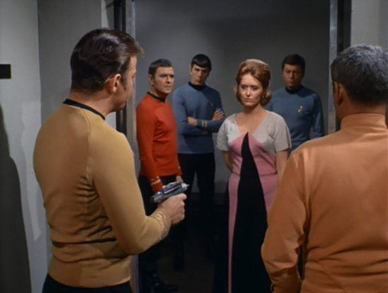 Kirk pointing a phaser at Lester from Turnabout Intruder