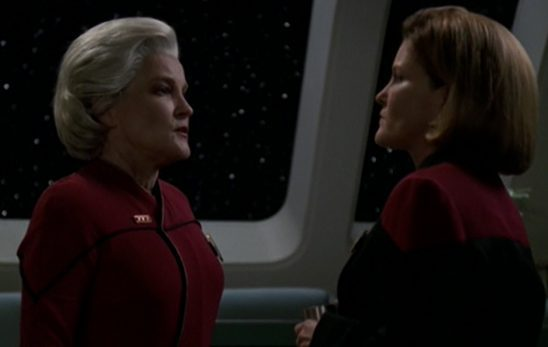 Older Janeway talking to younger Janeway
