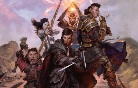 Five D&D adventurers standing together wielding swords, bows, and magic.