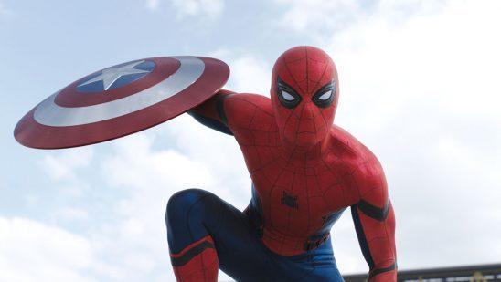 Spider-Man holding Captain America's shield.