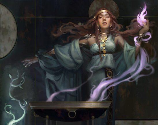 MTG art showing a woman summoning multicolored magic.