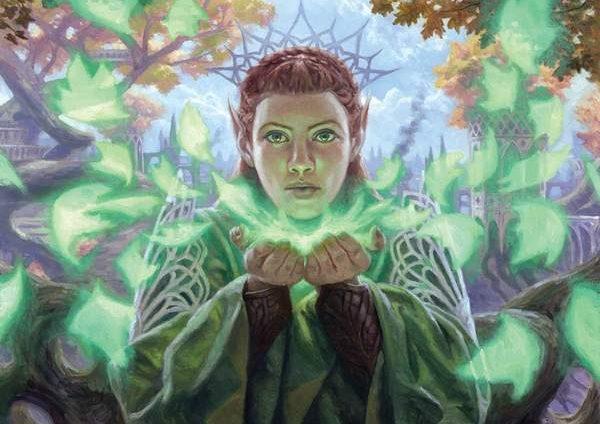 MTG art of an elven woman summoning green leaf-magic.