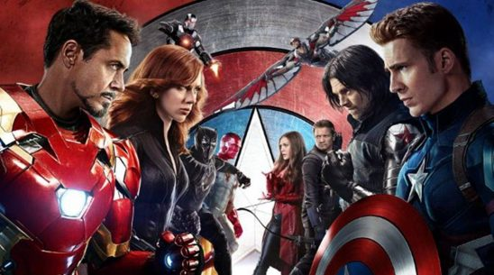 The characters from Civil War arranged on opposing sides.