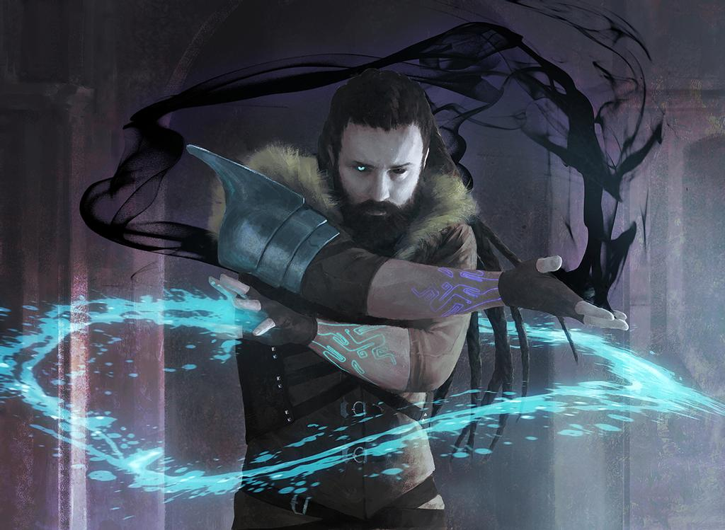 MTG art of a man summoning black and blue magic.