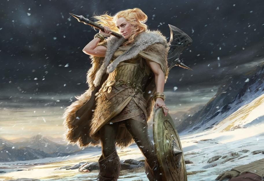 MTG art of a woman in furs with a shield and an axe.