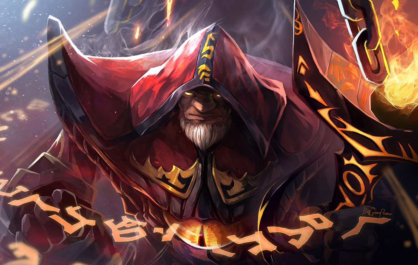 MTG art of a bearded man summoning glowing runes.