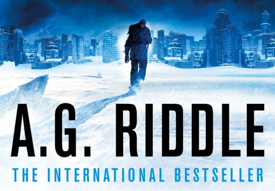 Someone trudging through the snow in front of a cityscape, over the words A.G. Riddle, The International Bestseller
