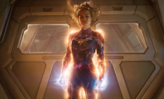 Captain Marvel glowing with new powers.