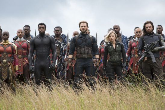 A line of heroes and Wakandan soldiers from Infinity War