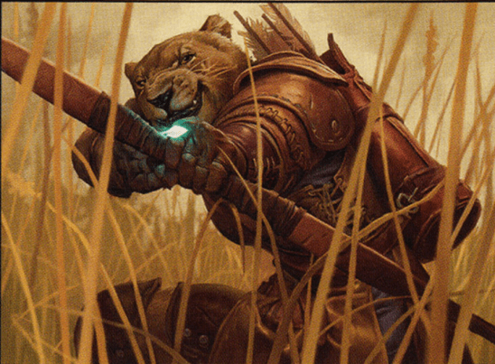 A lion headed ranger drawing a bow, from the Stalking Lion MTG card.
