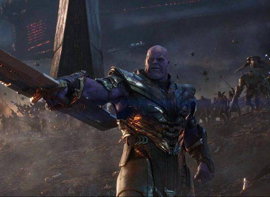 Thanos raising his sword in Endgame