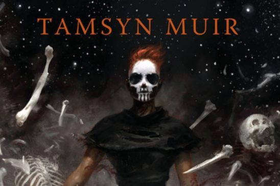 Gideon wearing skull makeup and sunglasses, surrounded by bones, from Gideon the Ninth cover art.