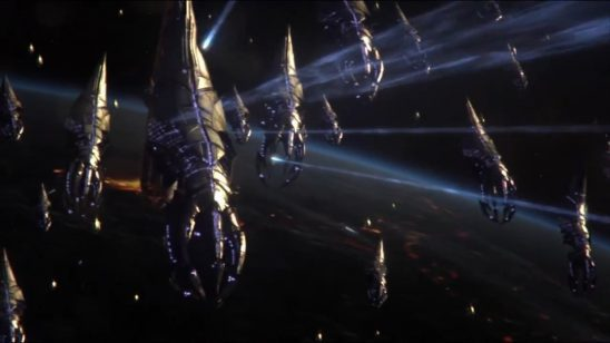 A fleet of Reapers under fire in Mass Effect 3.