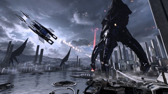 A fighter craft flying in front of a landed Reaper from Mass Effect 3.